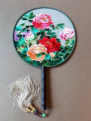 NEW Hand Embroidered Traditional Chinese Fan- Paeony Rose Design