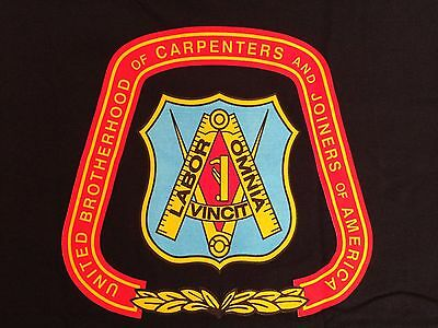 "UBC UNITED BROTHERHOOD of CARPENTERS UNION EMBLEM T-SHIRT ""Union Made in USA"" XL"