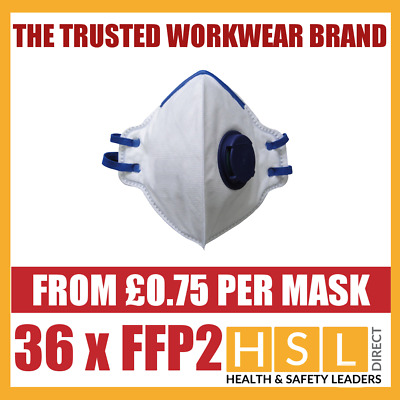 Box Of 36 FFP2 Fold Flat Valved Disposable Dust Masks Respirator EN149 NEW BOXED