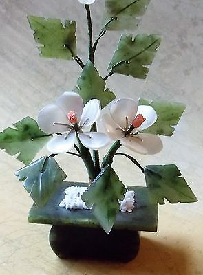 Vintage 1980s Chinese Hand Carved Jade, Coral & Mother Of Pearl Bonsai Statue