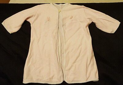 Vintage Soft Pink Baby Girl Robe Gown Infant Newborn embroidered