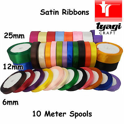 Ribbon Satin 6mm 12mm 25mm Wide Spool Silk Gift Wrap Present Flowers Bouquet