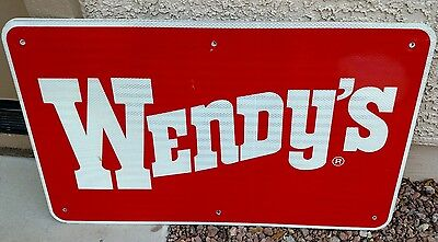 """WENDY'S Reflective Interstate Highway Sign 18"""" X 30"""" MAN CAVE POOL"""
