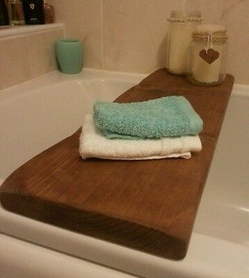 Thick Rustic Country Style Wooden Bath Shelf relaxing ideas for your bathroom