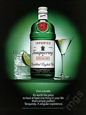 Tanqueray dry gin print ad 1989 A Singular Experience