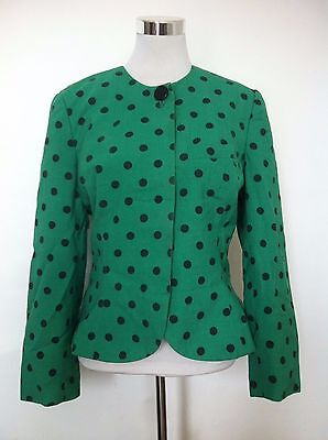 Vintage Womens Stirling Cooper Green Spotted Evening Blazer Jacket / Size 14