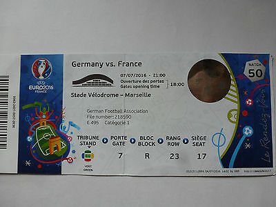 Used ticket with team names EURO 2016 Germany v France 0:2 Semi-final 2-Match 50