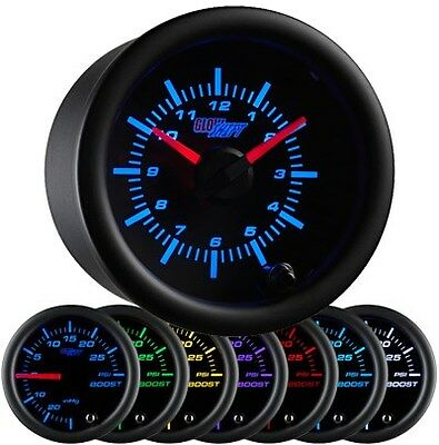 "2 1/16"" 52mm GlowShift Black 7 Color Series Analog Clock Gauge 12 Volts GS-C718"