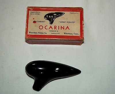 Waterbury Sweet Potato Ocarina musical instrument in original red box 1940s