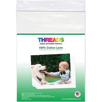 "Threads Inkjet Printable Fabric Sheets 8.5""X11"" 6/Pkg 100% Cotton Lawn 100620"