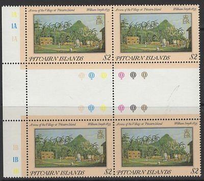 "PITCAIRN ISLANDS SG267var 1985 $2 PAINTINGS INSCRIBED ""1835"" MNH BLOCK OF 4"
