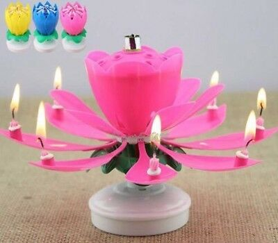 Lotus Flower Musical Birthday Candle / Cake Topper - PINK