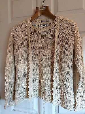 Vintage Pallas 100% Hand Loomed Irish Linen Ladies Top and Button Sweater Size S