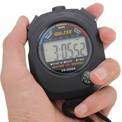 New Digital Handheld Sports Waterproof Stopwatch Chronograph Counter Timer Watch