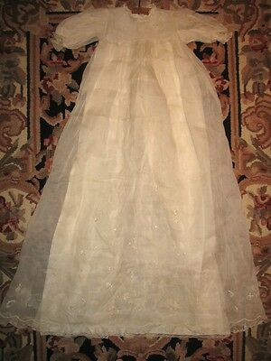 Vtg 2 Pc Open Work Embroidered Lace Cream Linen Fabric Christening Gown Dress