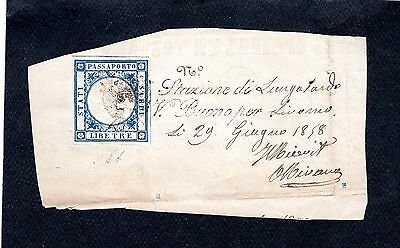 R  Italy Passport Revenue Stamp Used On Paper Imperf. Arms 1861 Blue Like #1  L1