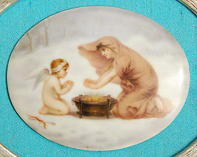 ANTIQUE HAND PAINTED PORCELAIN  - Cupid warming hands with Ruth