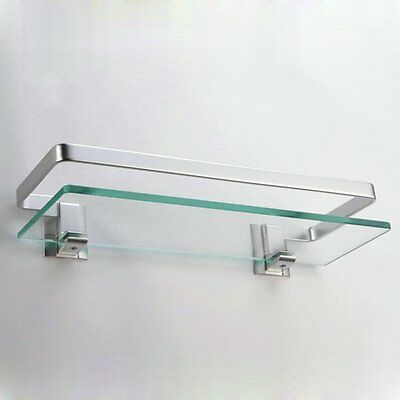 Bathroom Shower 1 Tier Glass Shelf Caddy Organizer Aluminium