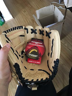 "Rawlings Camel/Black 11.25 Heart Of The Hide Narrow ""Pedroia"" Fit Baseball Glove"