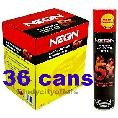 Neon 5x (36 pack) box Gas Refill Butane Universal Fluid Fuel  Refined 300ml