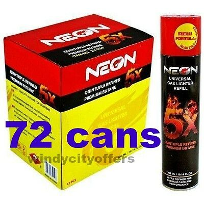 Neon 5x (72 pack) box Gas Refill Butane Universal Fluid Fuel  Refined 300ml