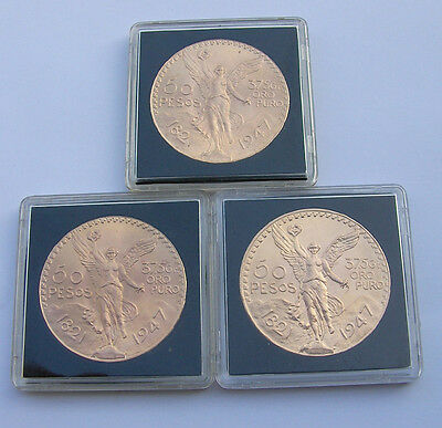 LOT 3 MONNAIES 50 PESOS MEXICAIN pieces en OR qualite SPL