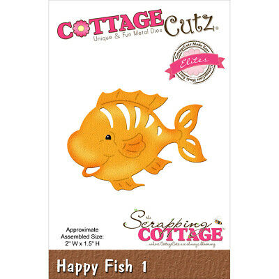 "CottageCutz Elites Die  Happy Fish #1, 2""X1.5"" CCE272"