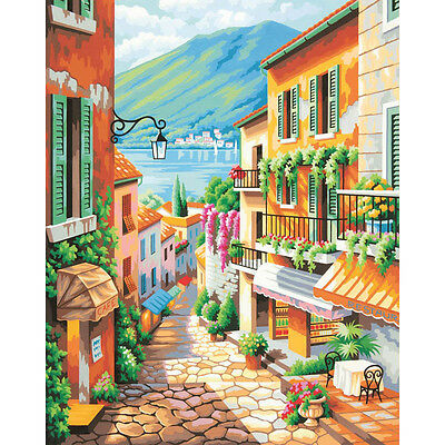 "Paint Works Paint By Number Kit 20""X16"" Village Steps 91466"