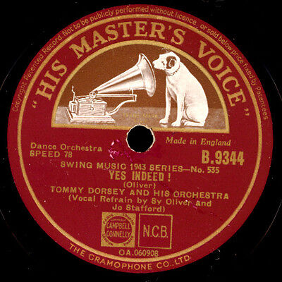 TOMMY DORSEY & HIS ORCHESTRA  Yes indeed / Loose Lid Special  78rpm X770