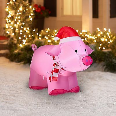 Gemmy 3' Pink Inflatable Christmas Pig Airblown Christmas Yard Inflatable