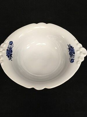 Vintage Haeger 4060 Large White Bowl with Blue Decorative Flowers