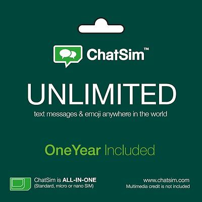 Chatsim Unlimited - Global Sim Card To Chat With Whatsapp Bbm 1 Yr Service Inc.