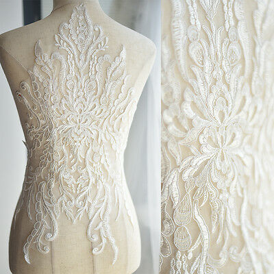 Large Lace Applique Patch Wedding Dress Embroidery Party Elegant Motif 35cm*57cm