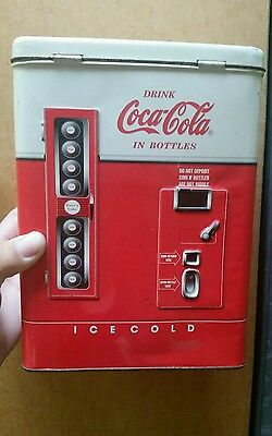 Vintage 1997  Drink Coca-Cola In Bottles Tin Box Dispenser Machine &  Hinged Lid