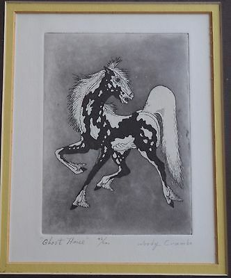 """Woody Crumbo Native Potowatomi limited edition, signed """"Ghost Horse"""" etching"""