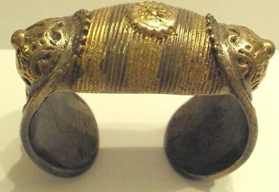RARE AMAZING ANTIQUE 18th-19th CENTURY HUGE SILVER BRACELET WITH GOLD PLATED#189