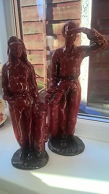 colour  trial  (possible )royal  doulton flambe pair golfing figurines