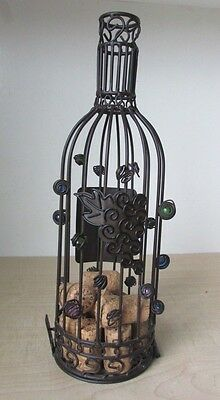 Wine Shaped Deco Bottle Cork Holder wall handing or table Decor with some Corks