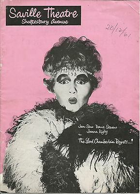 Lord Chamberlain Regrets  Joan Sims (of Carry On) 1961 Saville Theatre Programme