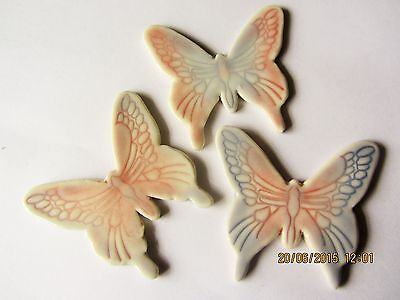 3 ceramic large butterflies fantastic for mosaic or similar craft projects