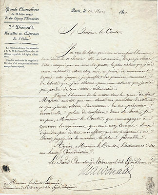 ORIGINAL 1819 -  French Legion of Honour Letter from Grand Chancellor