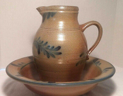 Rowe Pottery Works 2005 Historical Collection New York Pitcher & Low Bowl EUC