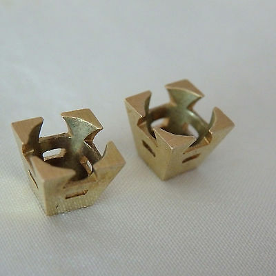ANTIQUE NEW OLD STOCK 14K Solid Yellow Gold 4-Prong Fishtail Setting Pair 6mm