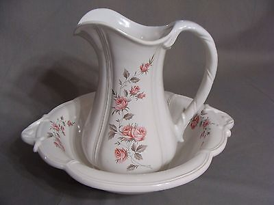 Haeger 2 Qt. Pitcher & Wash Bowl #4237 With Pink Roses, Made In USA