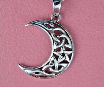925 Sterling Silver Celtic Crescent Moon Star Necklace *NEW*