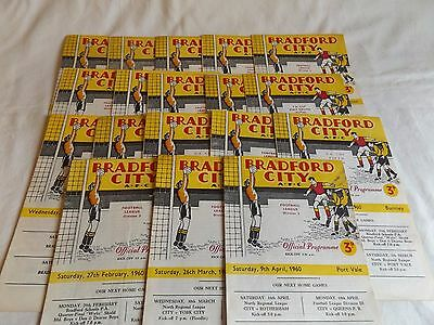 Bradford City 1959/1960 Home Programmes