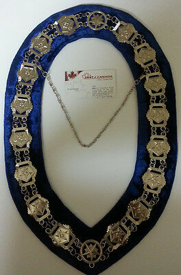 OES Patron Chain Collar Silver Plated Dark Blue Backing+Free Case