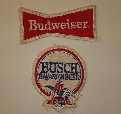 Vintage small Budweiser and Busch Bavarian Beer patches Bud memorabilia