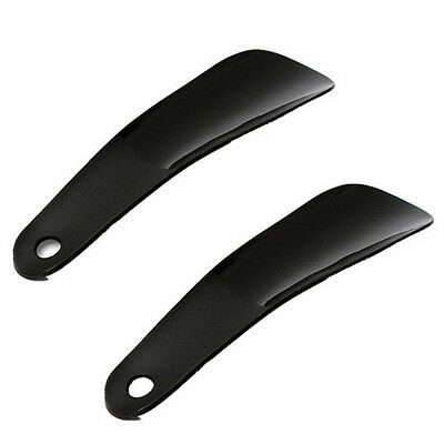 Simple Travel Shoehorn Sturdy Plastic with Hook Hole 2Pcs,black E0I5