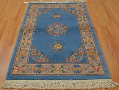 3'6x5'8 European Aubusson Design Vintage Chinese Oriental Hand Knotted Wool Rug